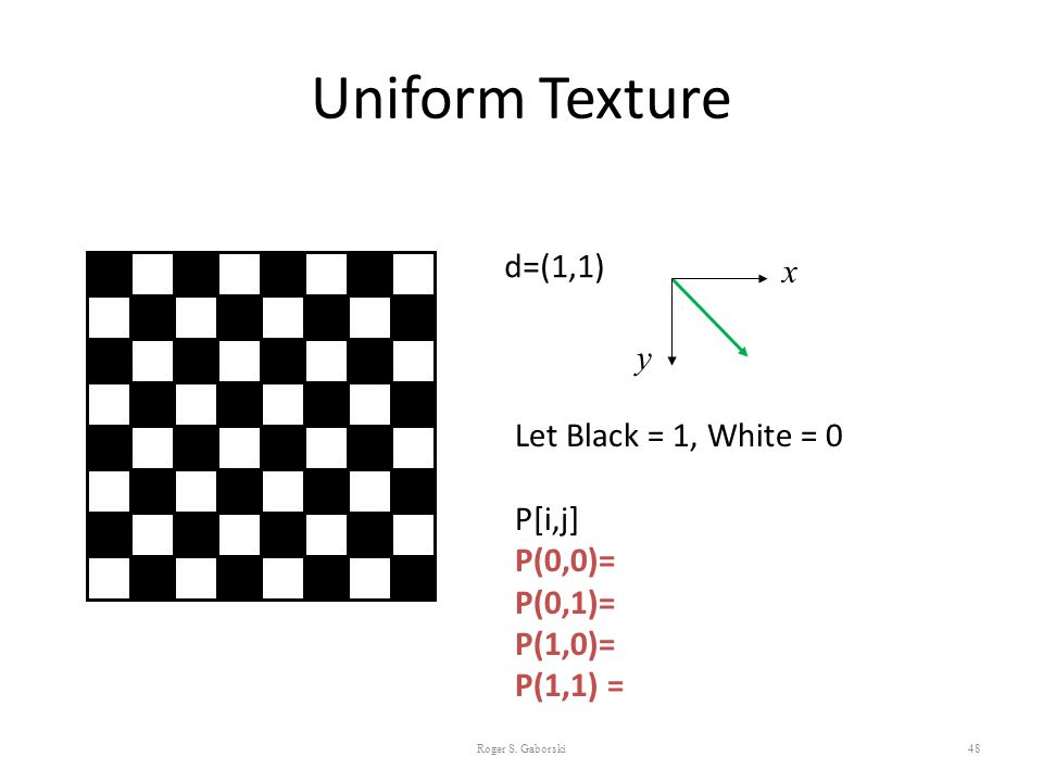 Uniform Texture d=(1,1) x y Let Black = 1, White = 0 P[i,j] P(0,0)=